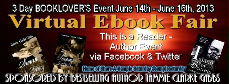 1 3 Day BOOKLOVERS BASH - VIRTUAL EBOOK FAIR- SHARE AN EXCERPT SATURDAY